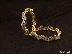 Ad Jewellery , Curved Leaf Style Ad Jewllery Bangles | Manek Ratna
