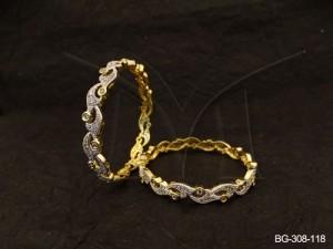 Ad Jewellery , Curvy Triangular Wrap Layered Ad Bangles | Manek Ratna