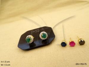 Ad Jewellery , Detachable Tops Style Round Polo Ad Earrings | Manek Ratna