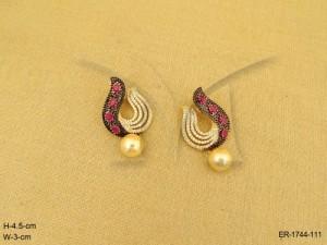 Ad Jewellery , Diya Bati Style Moti Drop Ad Earrings | Manek Ratna
