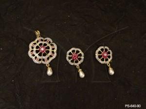 Ad Jewellery , Flower Built In Moti Drop Ad Pendant Set | Manek Ratna