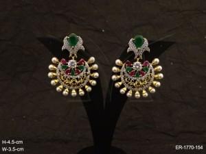Ad Jewellery , Flower Chand Bali Ad Jewellery Earrings | Manek Ratna