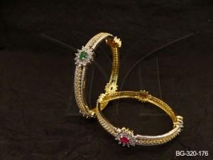 Ad Jewellery , Flower Style Delicate Ad Jewellery Bangles | Manek Ratna