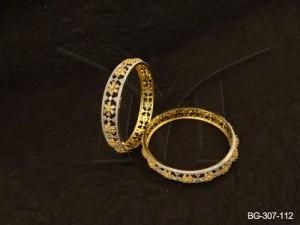 Ad Jewellery , Flower Textured Party Wear Ad Bangles | Manek Ratna