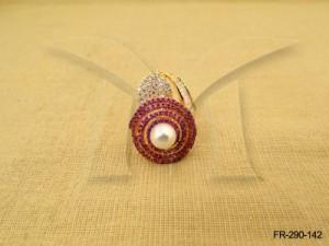 Ad Jewellery , Gol Chakri Moti Centered Ad Finger Ring | Manek Ratna
