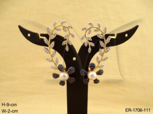 Ad Jewellery , Leaf Style Flower Ad Kanful Earrings | Manek Ratna