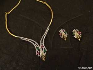 Ad Jewellery , Mesh Joint Two Sided Ad Necklace Set | Manek Ratna
