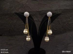 Ad Jewellery , Moti Chain Drop Bollywood Ad Earrings | Manek Ratna