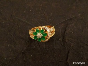 Ad Jewellery , Oval Base Flower Ad Finger Ring | Manek Ratna