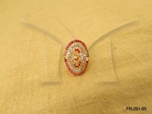 Ad Jewellery , Oval Based Flower Style Ad Finger Rings | Manek Ratna