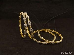 Ad Jewellery , Oval Style Polo Textured Ad Bangles | Manek Ratna