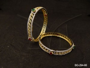 Ad Jewellery , Paan Layered Textured Style Ad Bangles | Manek Ratna