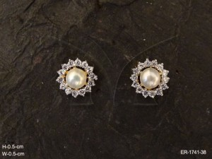 Ad Jewellery , Paan Leaf Small Moti Center Party Wear Ad Earrings | Manek Ratna