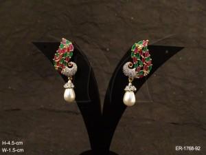 Ad Jewellery , Peacock Moti Drop Ad Jewellery Earrings | Manek Ratna
