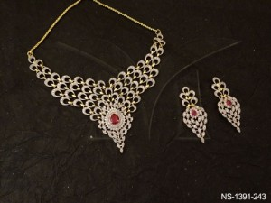 Ad Jewellery , Polo Paan Centered Multi Seeded Ad Necklace Set | Manek Ratna