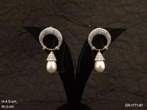Ad Jewellery , Reverse Chand Bali Style Ad Jewellery Earrings | Manek Ratna