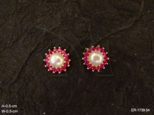 Ad Jewellery , Round Big Moti Center Bollywood Ad Earrings | Manek Ratna