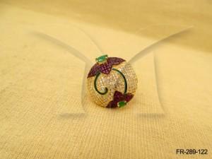Ad Jewellery , Round Decorative Flower Ad Finger Ring | Manek Ratna