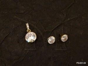 Ad Jewellery , Round Delicate Pendant Ad Pendant Set | Manek Ratna