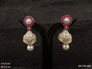 Ad Jewellery , Round Hold Stylish Jhumki Ad Earrings | Manek Ratna