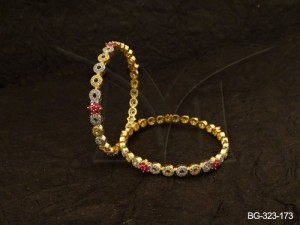Ad Jewellery , Round Polo Style Chained Ad Bangles | Manek Ratna