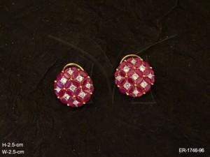 Ad Jewellery , Round Reverse Cap Style Drop Ad Earrings | Manek Ratna