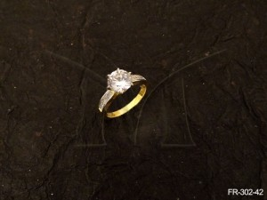 Ad Jewellery , Round Stone Center Party Wear Ad Finger Rings | Manek Ratna