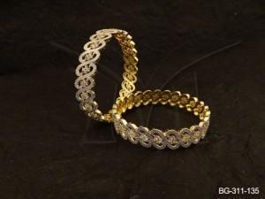 Ad Jewellery , Spiral Curvy Flower Party Wear Ad Bangles | Manek Ratna