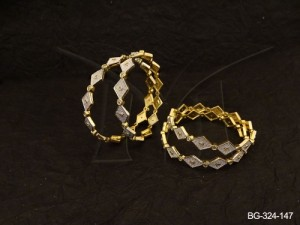Ad Jewellery , Square Diamond Shape Ad Bangles | Manek Ratna