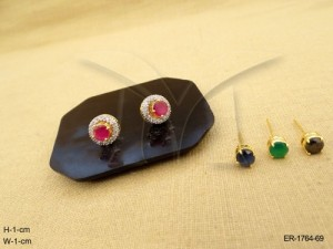 Ad Jewellery , Tops Style Detachable Broad Polo Ad Earrings | Manek Ratna