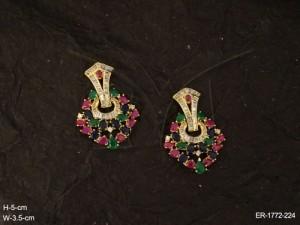 Ad Jewellery , Triangular Stud Hold Ad Jewellery Earrings | Manek Ratna