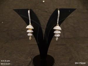 Ad Jewellery , Triple Jhumki Single Pin Style Hold Ad Earrings | Manek Ratna