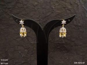 Ad Jewellery , Bell Style Delicate Ad Earrings | Manek Ratna