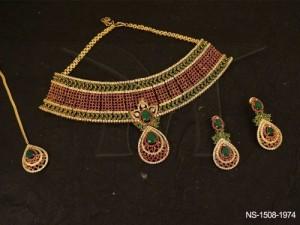 Ad Jewellery , Broad Paan Drop Flower Bridal Ad Necklace Set | Manek Ratna