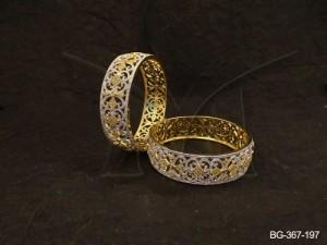 Ad Jewellery , Broad Style Curved Leaf Ad Bangles | Manek Ratna