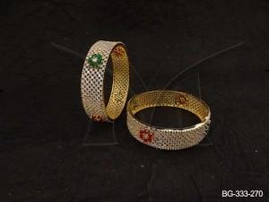 Ad Jewellery , Center Flower Broad Leaf Checks Ad Bangles | Manek Ratna