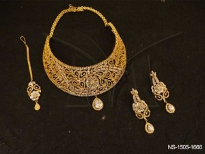 Ad Jewellery , Chand Shape Twisted Textured Ad Necklace Set | Manek Ratna