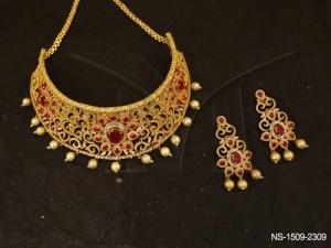 Ad Jewellery , Chand Spiral Design Round Flower Ad Necklace Set | Manek Ratna