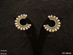 Ad Jewellery , Cuff Style Moti Style Ad Earrings | Manek Ratna