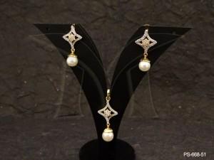 Ad Jewellery , Curved Chokor Style Moti Drop Ad Pendant Set | Manek Ratna