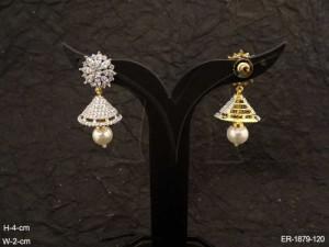 Ad Jewellery , Delicate Jhumki Flower Hold Ad Earrings | Manek Ratna