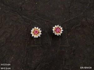 Ad Jewellery , Flower Designed Stud Style Ad Earrings | Manek Ratna