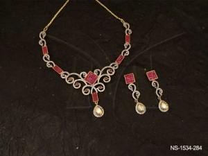 Ad Jewellery , Leaf Curved Rhombus Style Ad Necklace Set | Manek Ratna