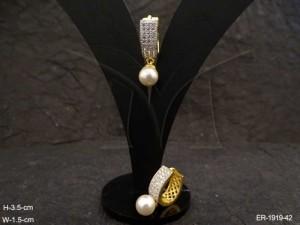 Ad Jewellery , Moti Drop Broad Long Bali Style Ad Earrings | Manek Ratna