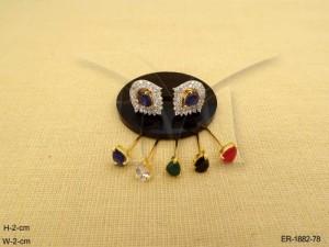 Ad Jewellery , Oval Leaf Style Detachable Ad Earrings | Manek Ratna