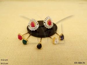 Ad Jewellery , Oval Paan Style Detachable Ad Earrings | Manek Ratna