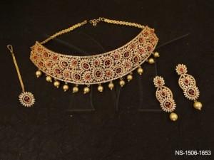 Ad Jewellery , Oval Pearls Flower Moti Drop Ad Necklace Set | Manek Ratna