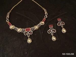 Ad Jewellery , Paan Checks Rhombus Style Ad Necklace Set | Manek Ratna