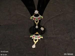 Ad Jewellery , Paan Hanged Pendulam Ad Earrings | Manek Ratna