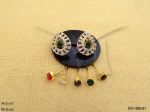 Ad Jewellery , Paan Style Bar Textured Ad Earrings | Manek Ratna
